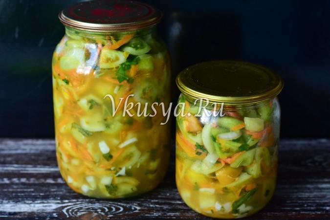 Салат из зеленых помидор и чеснока