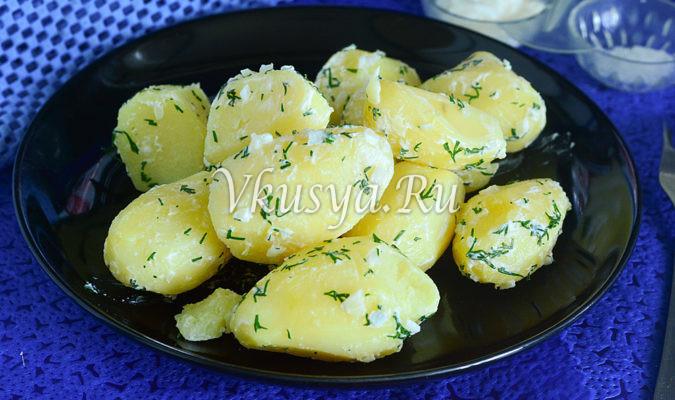 Молодой картофель со сметаной и чесноком