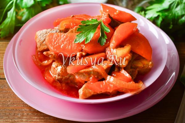 Свинина тушеная с овощами-8