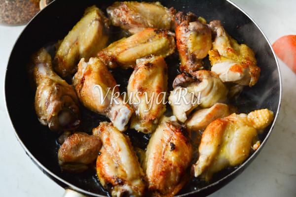 Гречка с курицей на сковороде-2